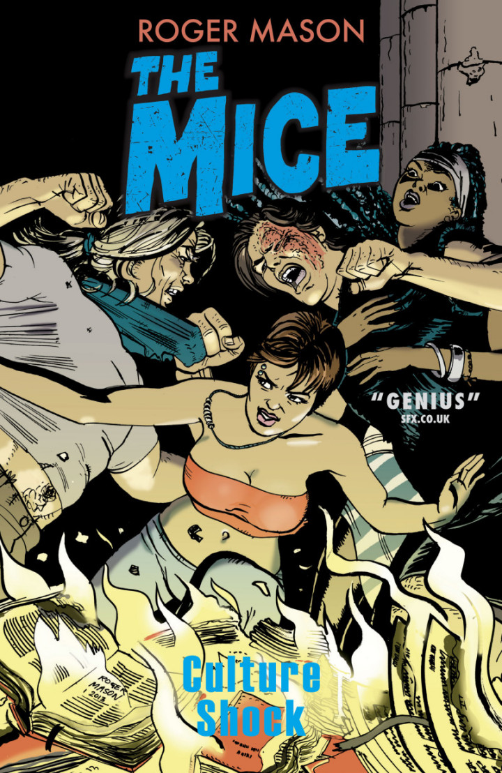 Cover art for The Mice book two: Culture Shock, a new graphic novel and the follow-up to The Factory Menace, available March 2013 from Scarcomics.com.