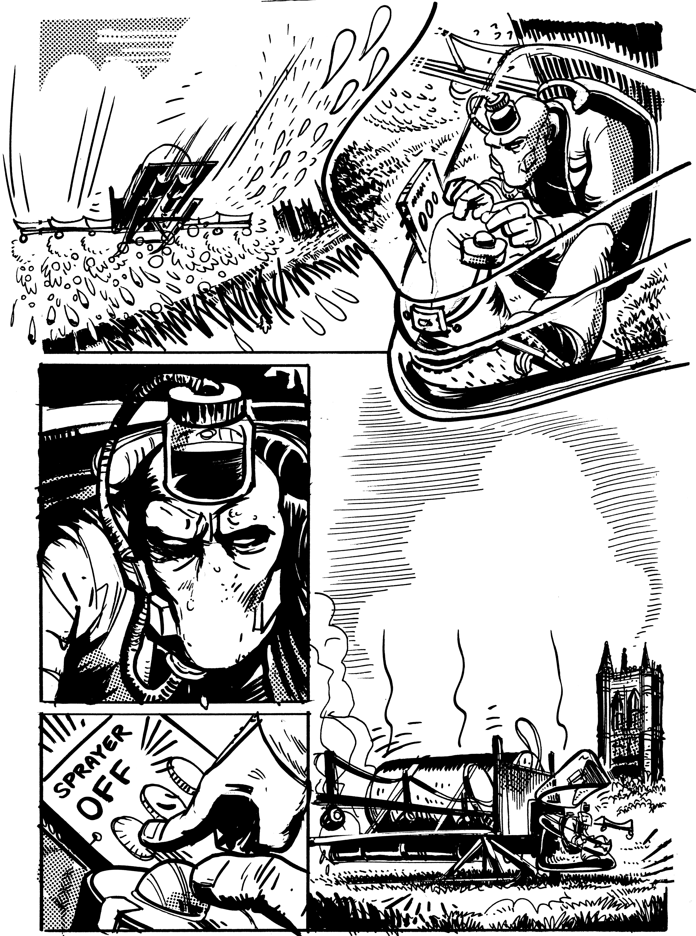 The alien worker Bron, known as Jarhead to his unkind workmates, flies the crop-sprayer and lands near the remains of Lincoln Cathedral. Page from book three. The Mice comic by Roger Mason