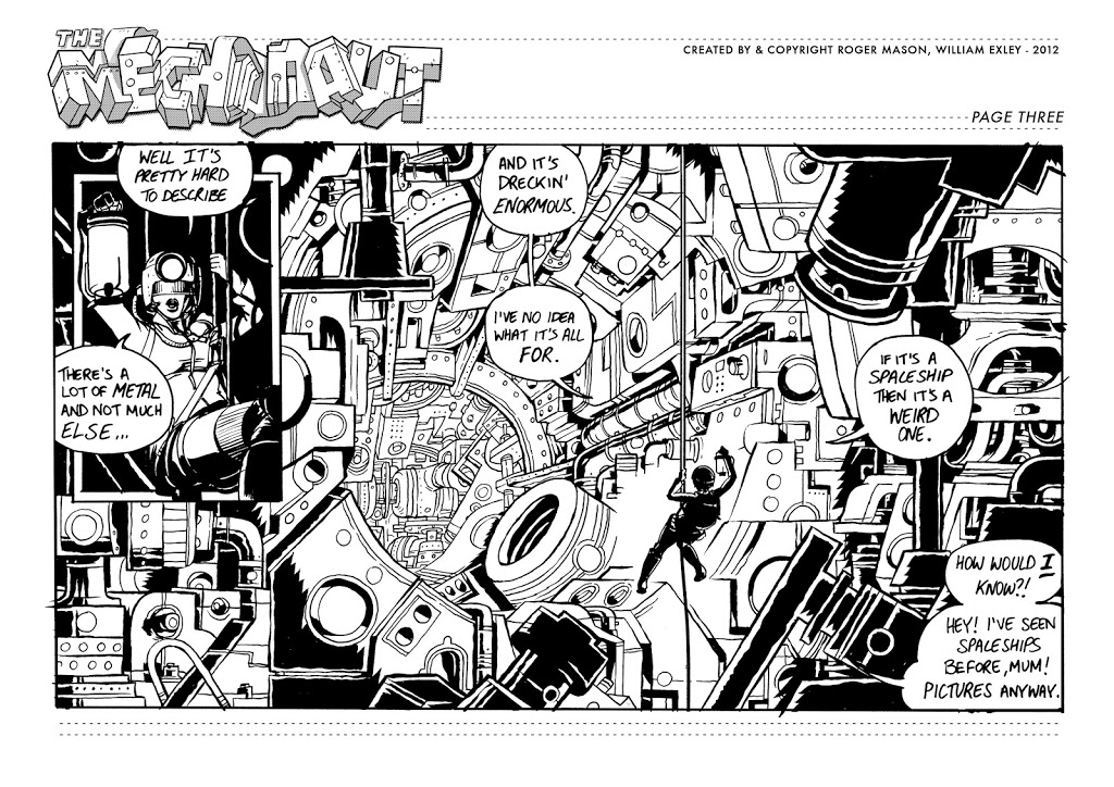 Mechanaut_page 3_roger mason_william exley_sci fi comic_black and white comic_jack kirby_action comic_british indie comic