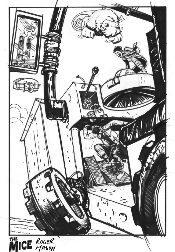 Work in progress: a page from the third Mice graphic novel by Roger Mason