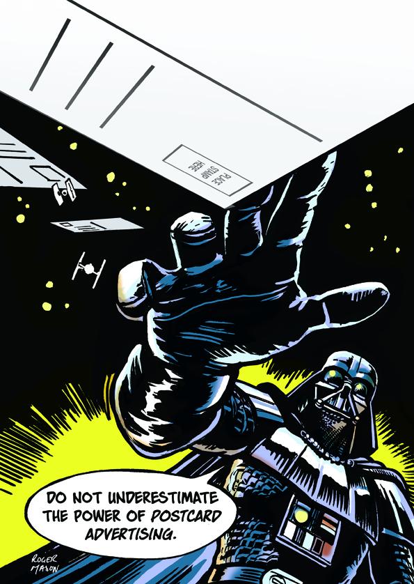 Full colour Star Wars comic art by Roger Mason. Darth Vader promoting postcard marketing systems for Big Smoke Media.