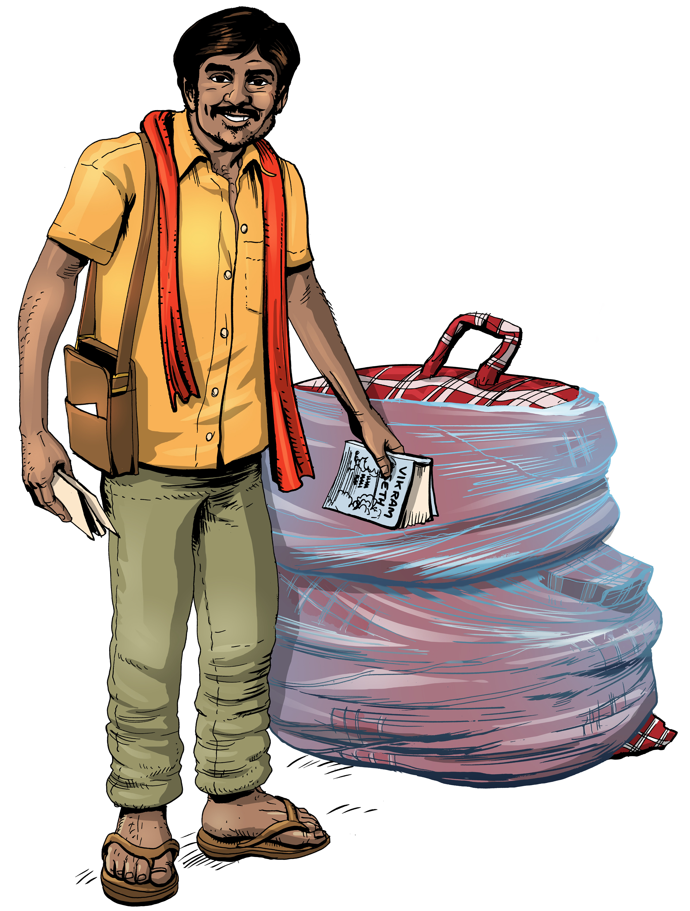 Indian, low-income traveller illustration.