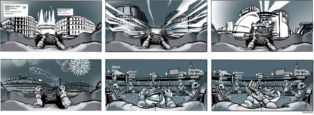 Storyboards for Jaguar VR experience