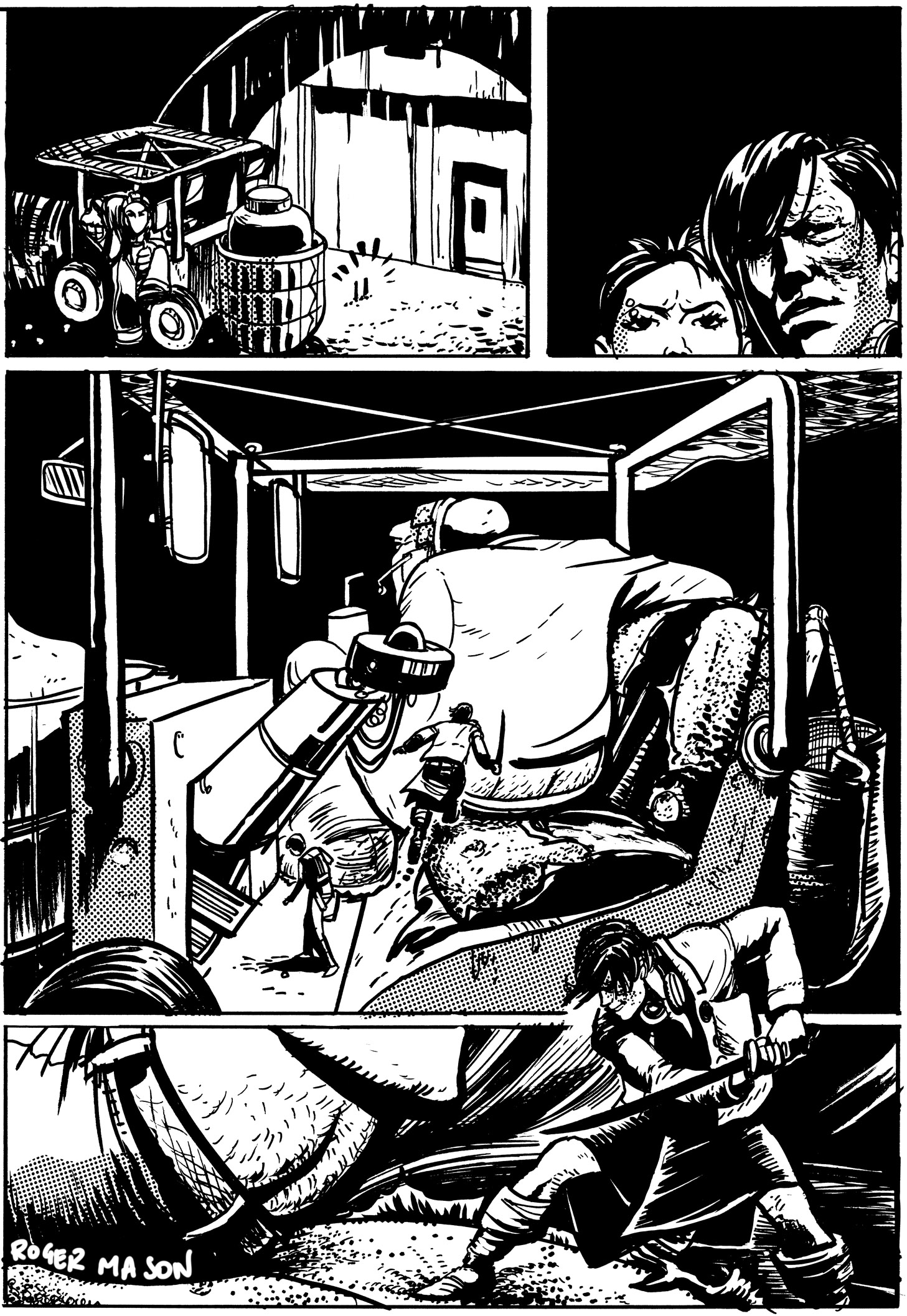Page from The Mice book 3, an alien is attacked by the humans. Black and white indie comic art by Roger Mason
