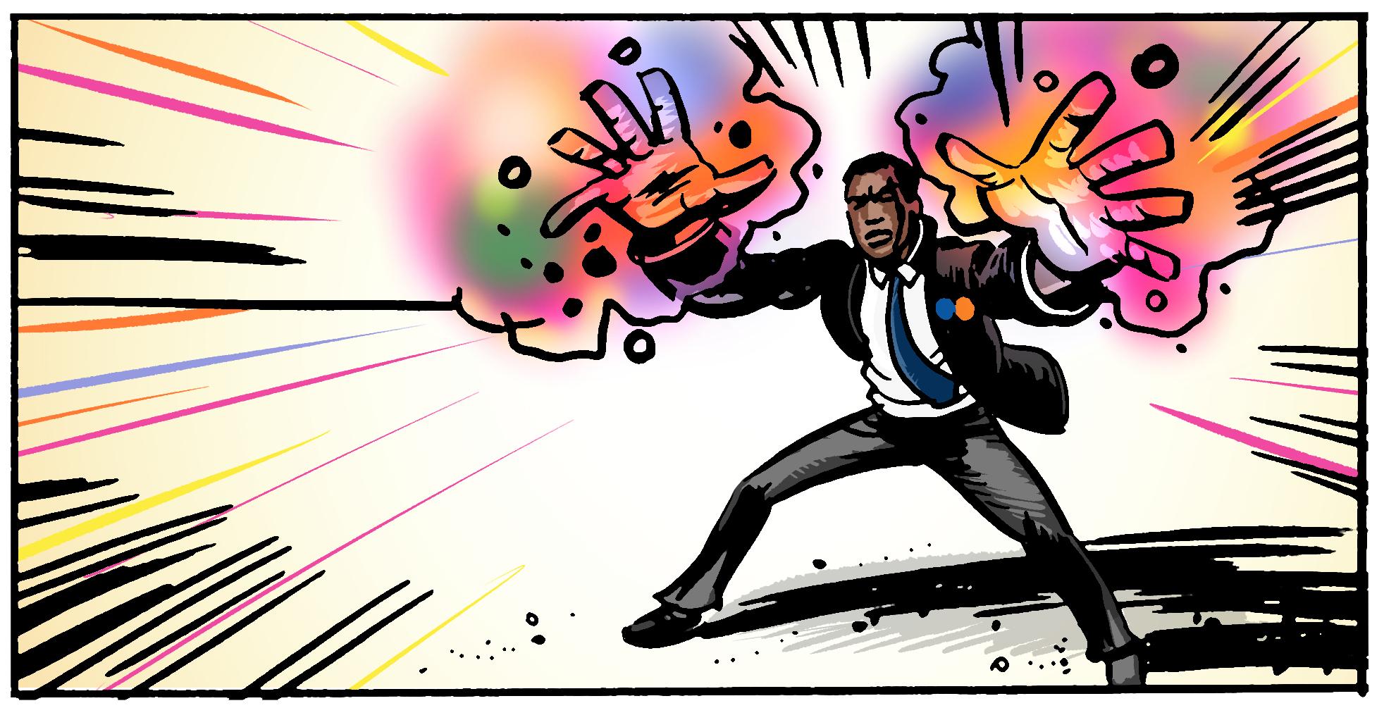 Superhero storyboards for Motorpoint TV commercial. Equinox Films. Roger Mason