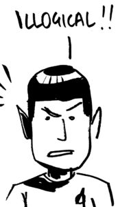 mr spock cartoon, from star trek. brush pen, by roger mason