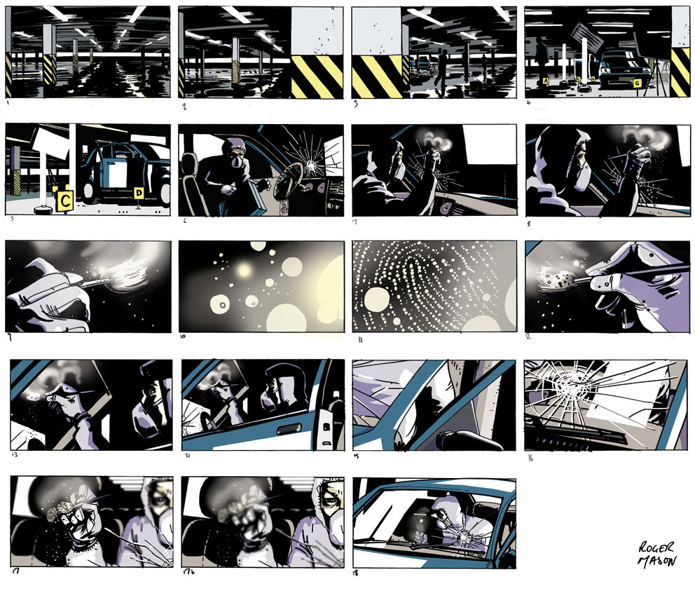 Red Bee Media channel ident storyboard. Full colour storyboard by Roger Mason