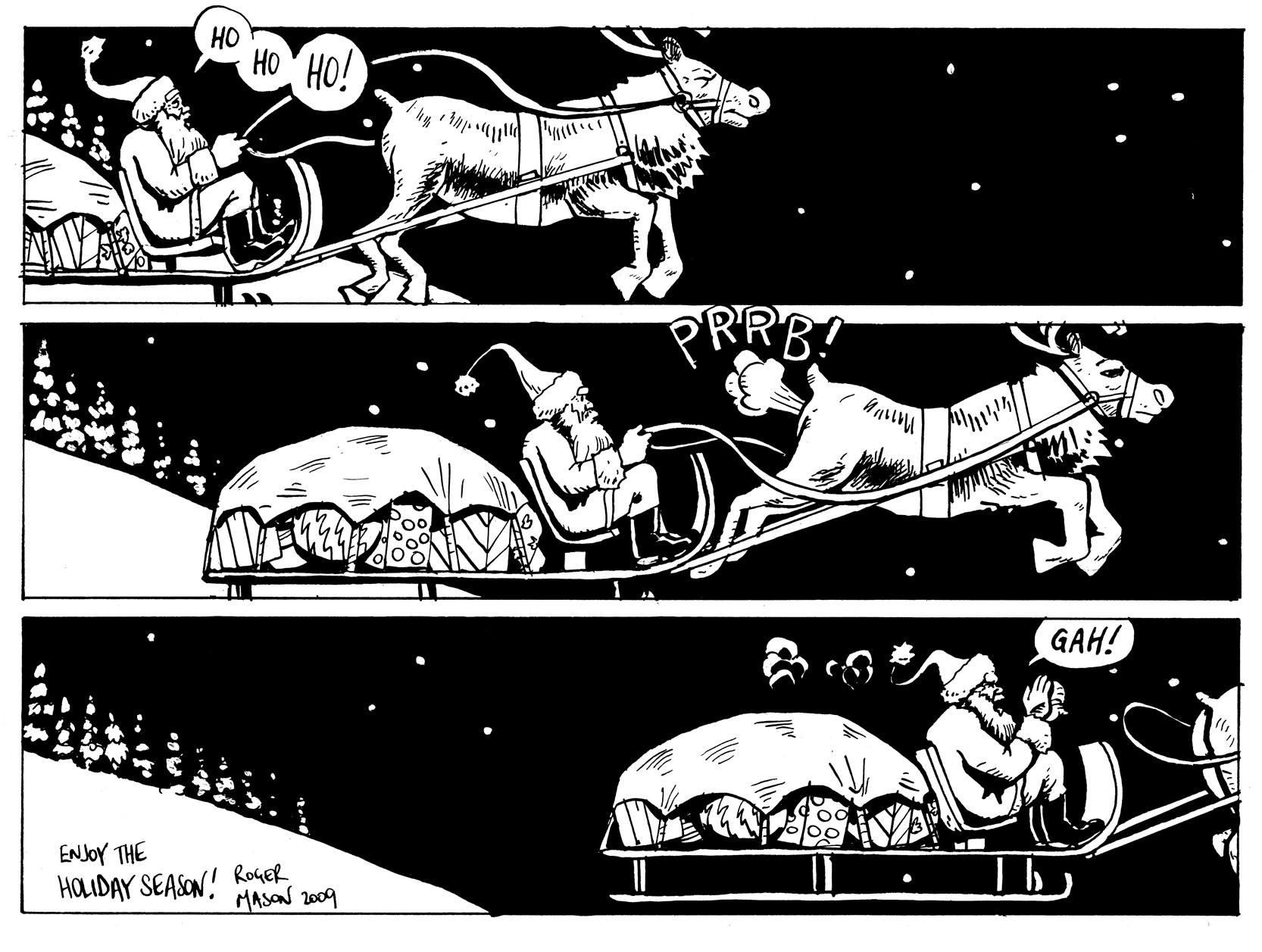 Christmas comic strip on a card featuring Santa and a farting reindeer. Comic by Roger Mason
