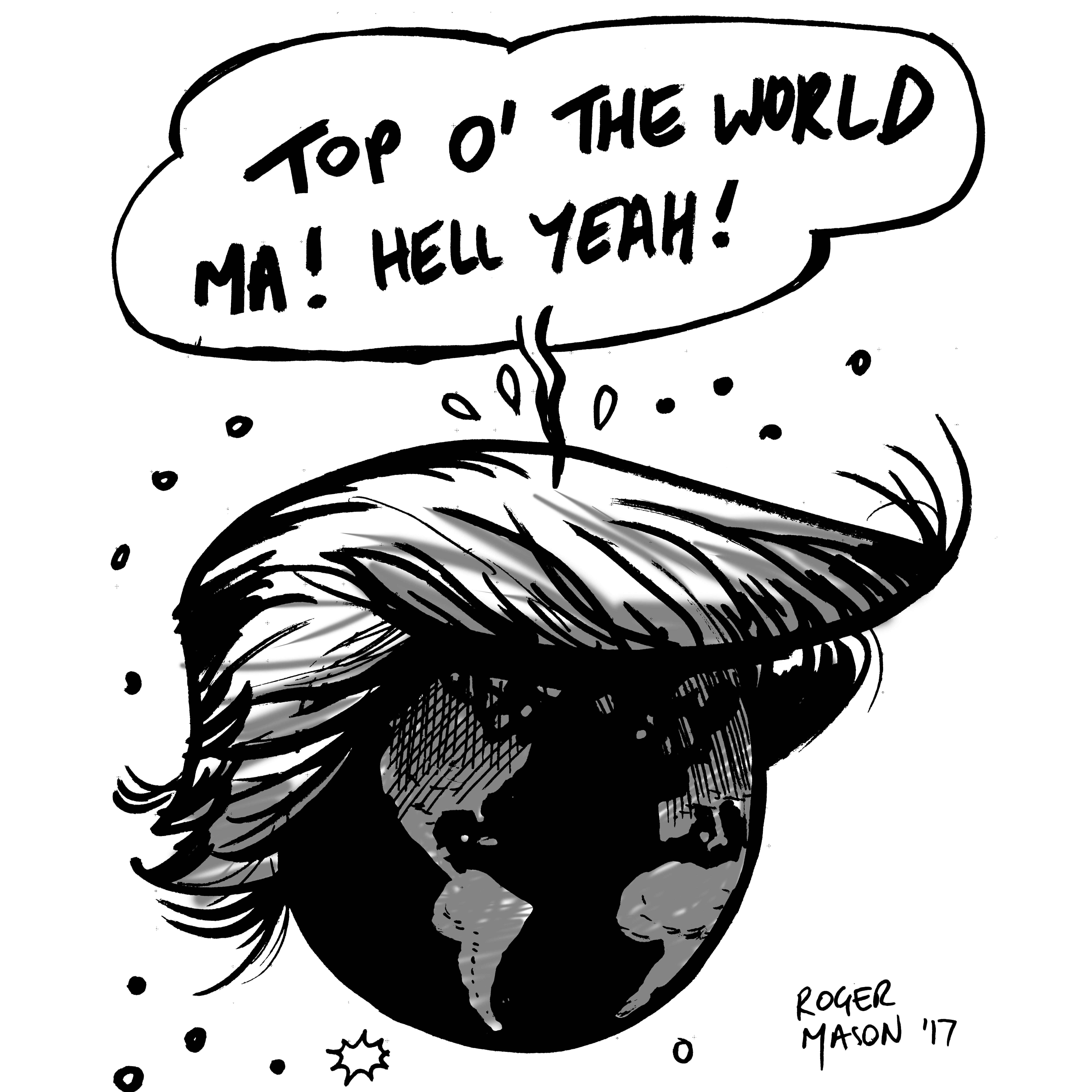 Donald Trump Inauguration cartoon. January 2017. By Roger Mason
