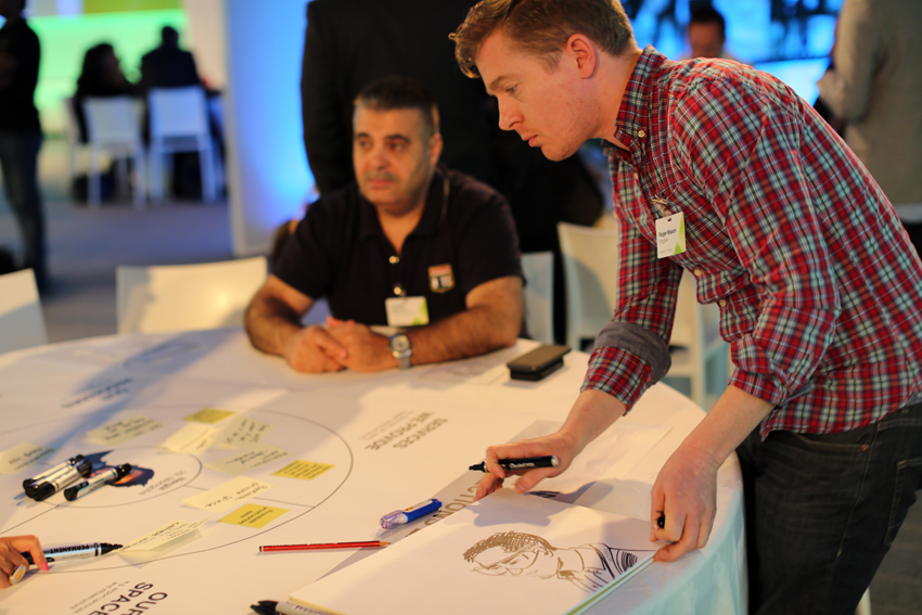 Drawing at Dubai Airport's 'Dubai NX' event in 2014, with Engine Service Design. Ideation session