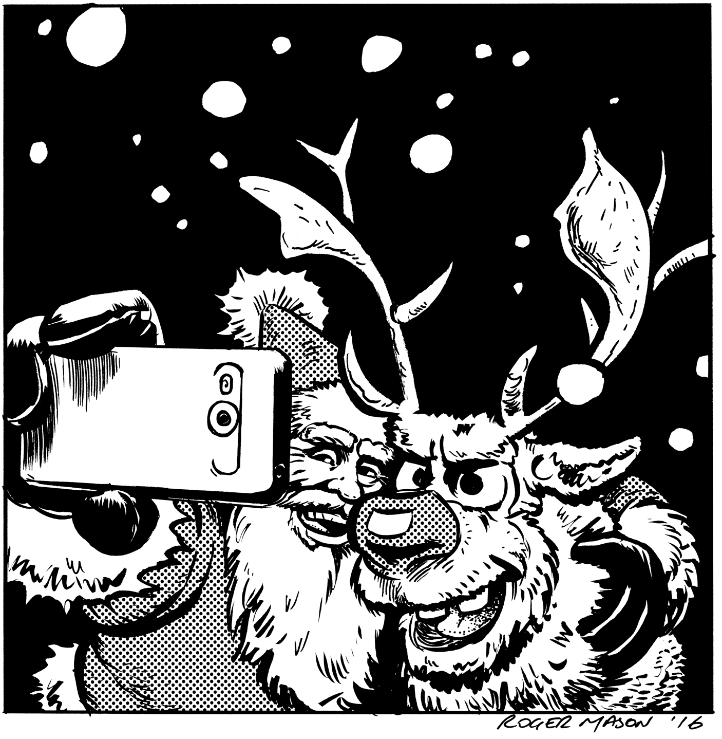 Santa and Rudolf selfie. Christmas card by Roger Mason