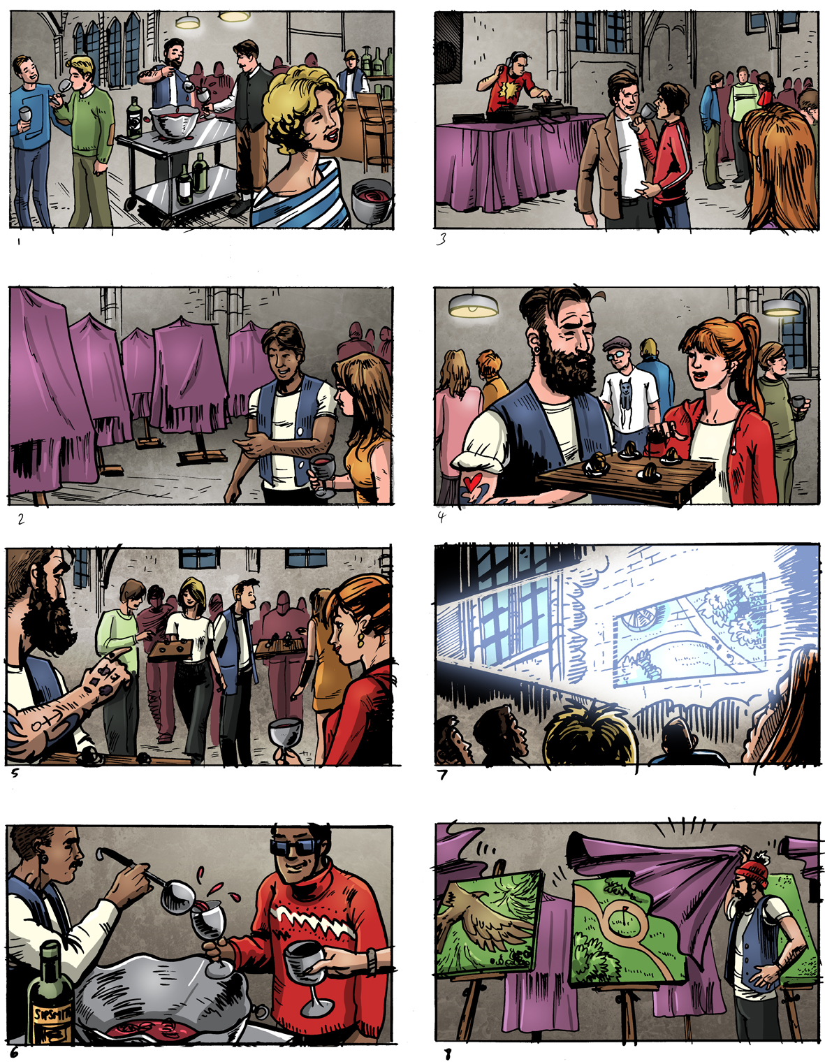 Colour storyboards for Socio Design and Sipsmith gin, by Roger Mason