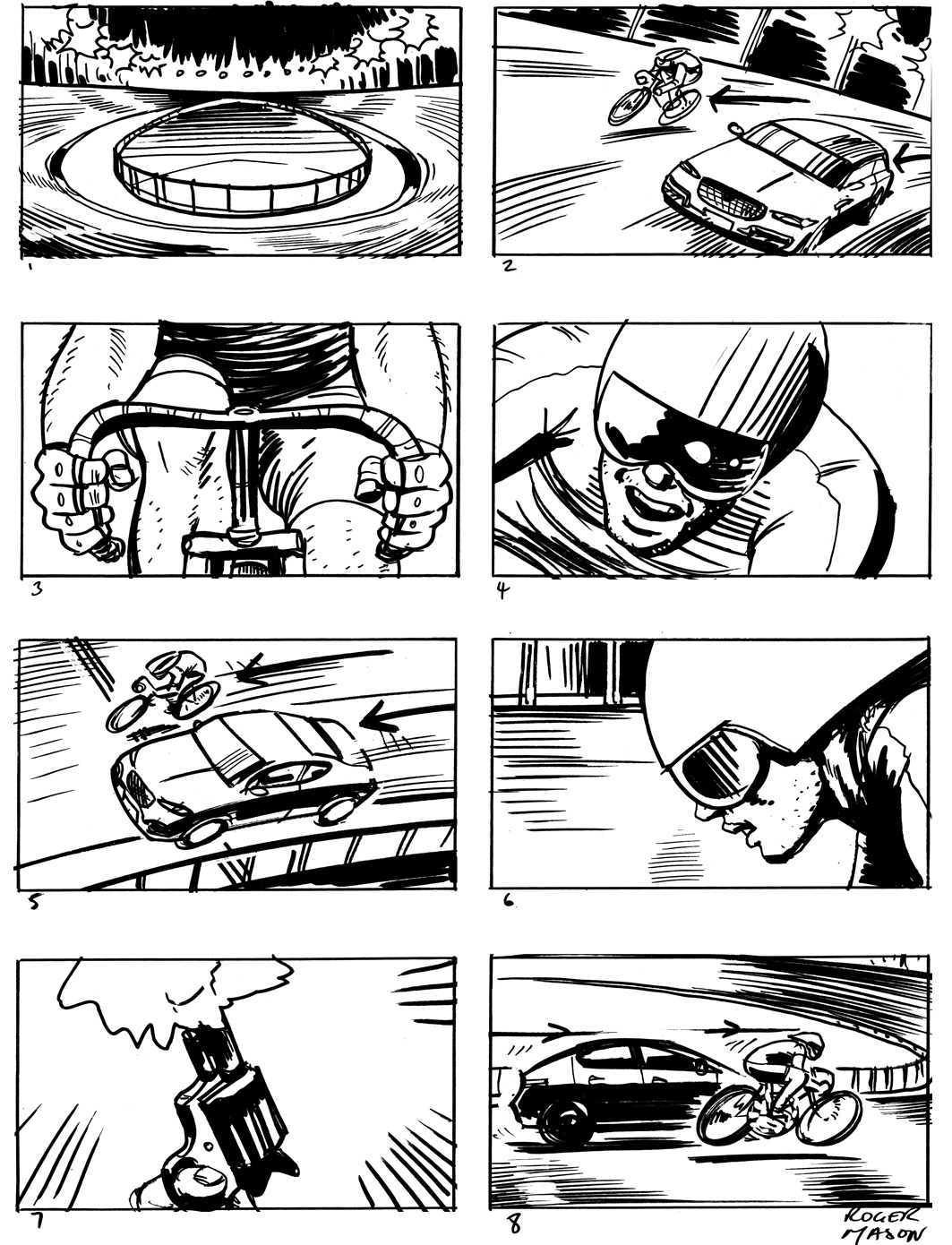 squire_jaguar cars storyboard_storyboard artist london_black and white illustration_roger mason_race track