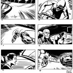 A cyclist races a Jaguar around a velodrome. Storyboard.