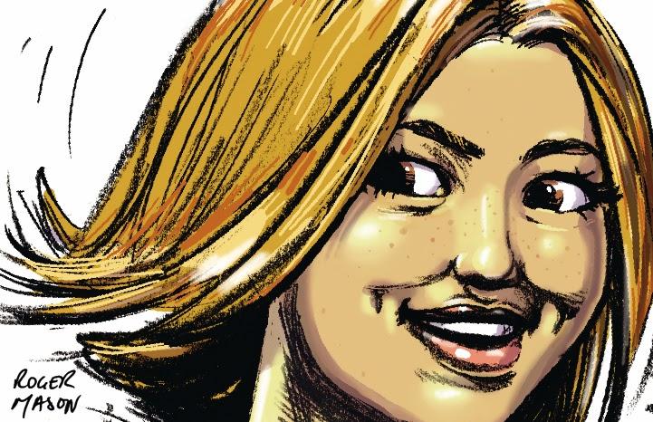 Smiling woman' storyboard frame, art by Roger Mason
